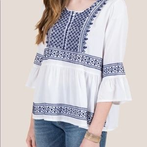Francesca's Kim Mosaic Embroidered Top